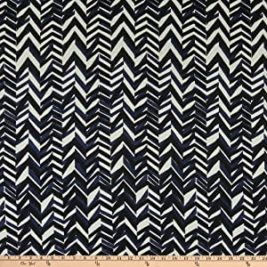 Fabric Merchants Splendid Apparel Rayon Challis Abstract Chevron Navy/Black Fabric