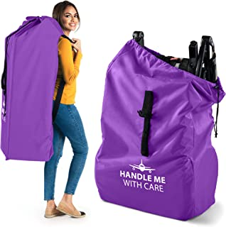 Stroller Travel Bag for Airplane Gate Check in - Large Standard or Double Stroller Purple