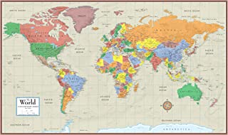 Swiftmaps World Contemporary Elite Wall Map Poster Mural 24h x 36w (Paper Rolled)
