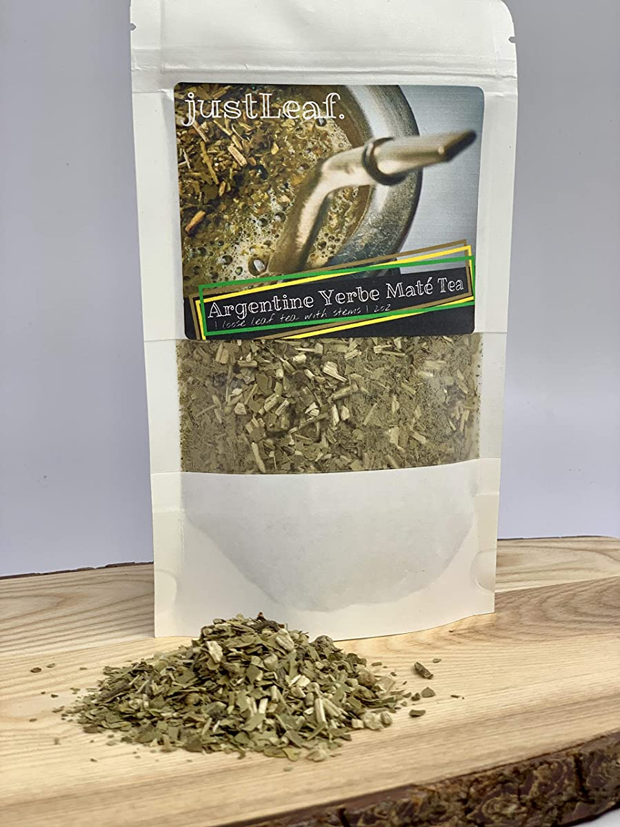 Yerbe Maté High Caffeine Tea | Loose Tea (2oz) | Nature's Best Energy Drink also promotes Weight Loss, Focus, Energy Boost. Herbs for Energy with the Benefits of Green Tea, by justLeaf.