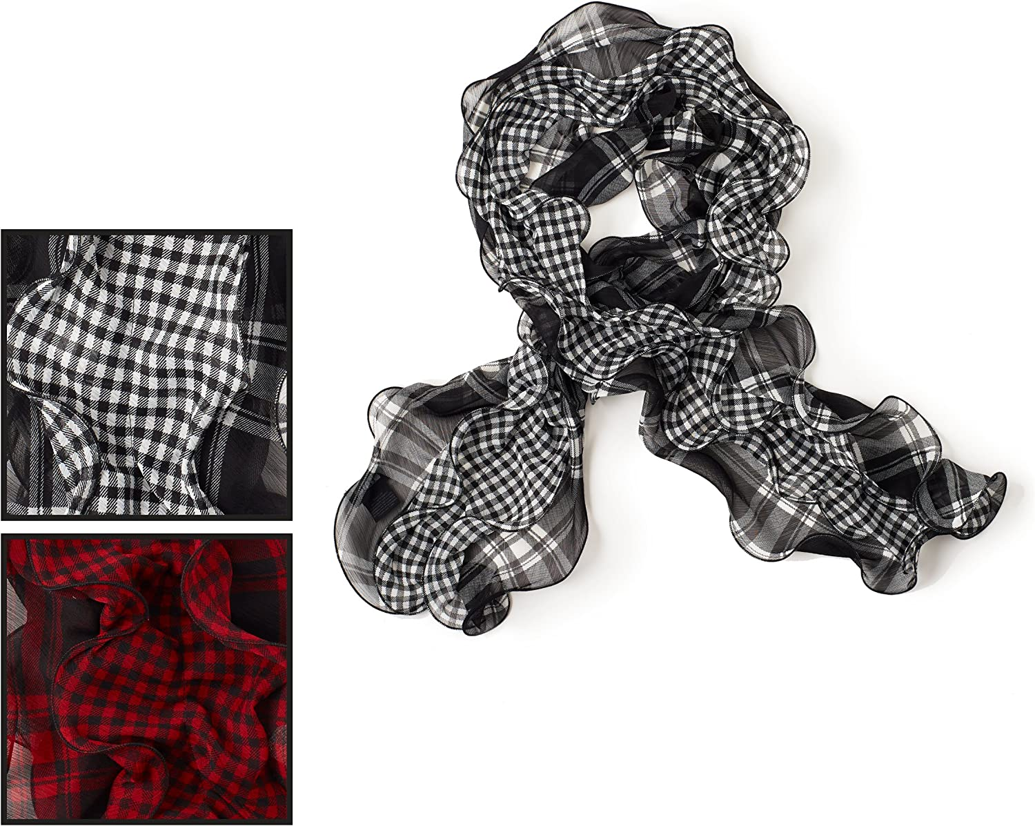 Chaps Womans womens Plaid Double Ruffle Fashion Scarf