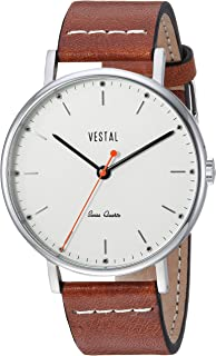 Vestal Sophisticate Leather Stainless Steel Swiss-Quartz Watch with Italian Strap, Brown, 20 (Model: SP42L08.LBWH)