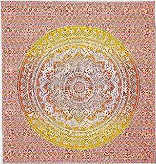 Nidhi 240x220 cms Queen Size mandala tapestry يمكن استخدامه كمفرش سرير، ستائر، غطاء أريكة، حصيرة للشاطئ وأكثر من ذلك، مصنو...