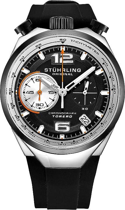 Orologio cronografo da uomo, al quarzo, cassa in acciaio inossidabile e cinturino in gomma stuhrling 894