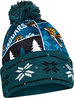 Zephyr Ugly Sweater Reindeer Cuff Beanie Hat with POM POM NHL Holiday Cuffed Winter Knit Toque Cap