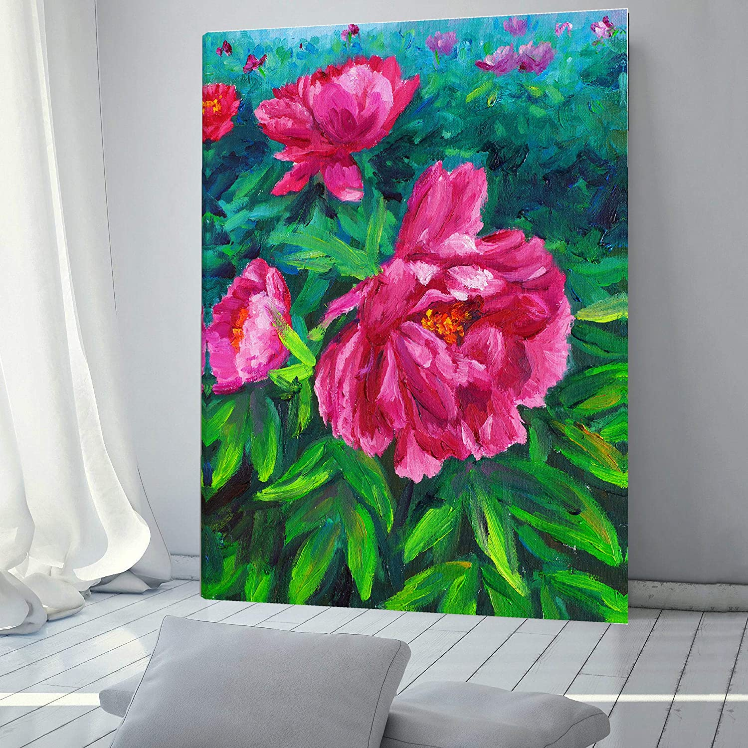 Oil Painted Peonies Print Some National products reservation Designer Wall Canvas Fashion Art