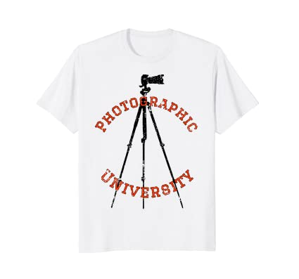 Photographic University t-shirt with camera on tripod icon