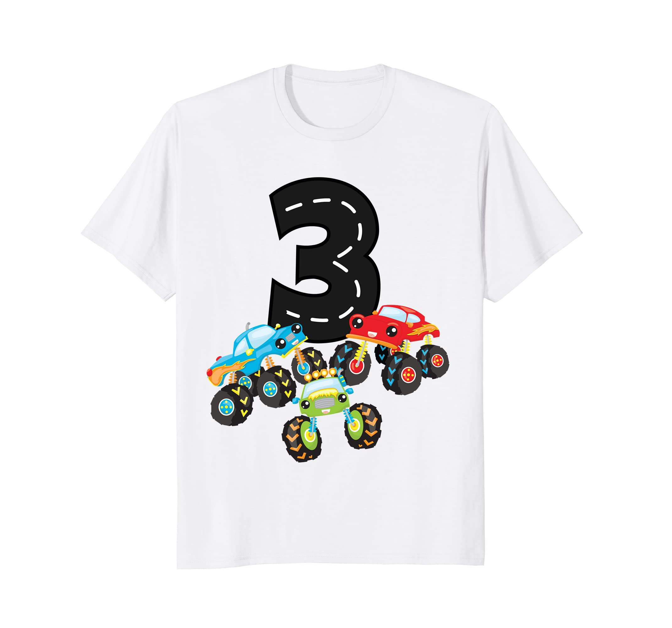 Amazon 3rd Birthday Three Monster Trucks Number 3 Boy Tee Clothing