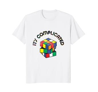 c9e3bda63d1d Amazon.com: Its complicated Rubik Cube 90s nostalgia vintage T-shirt ...