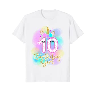 10th Unicorn Birthday Girl T Shirt Ten Years Old Party Gift