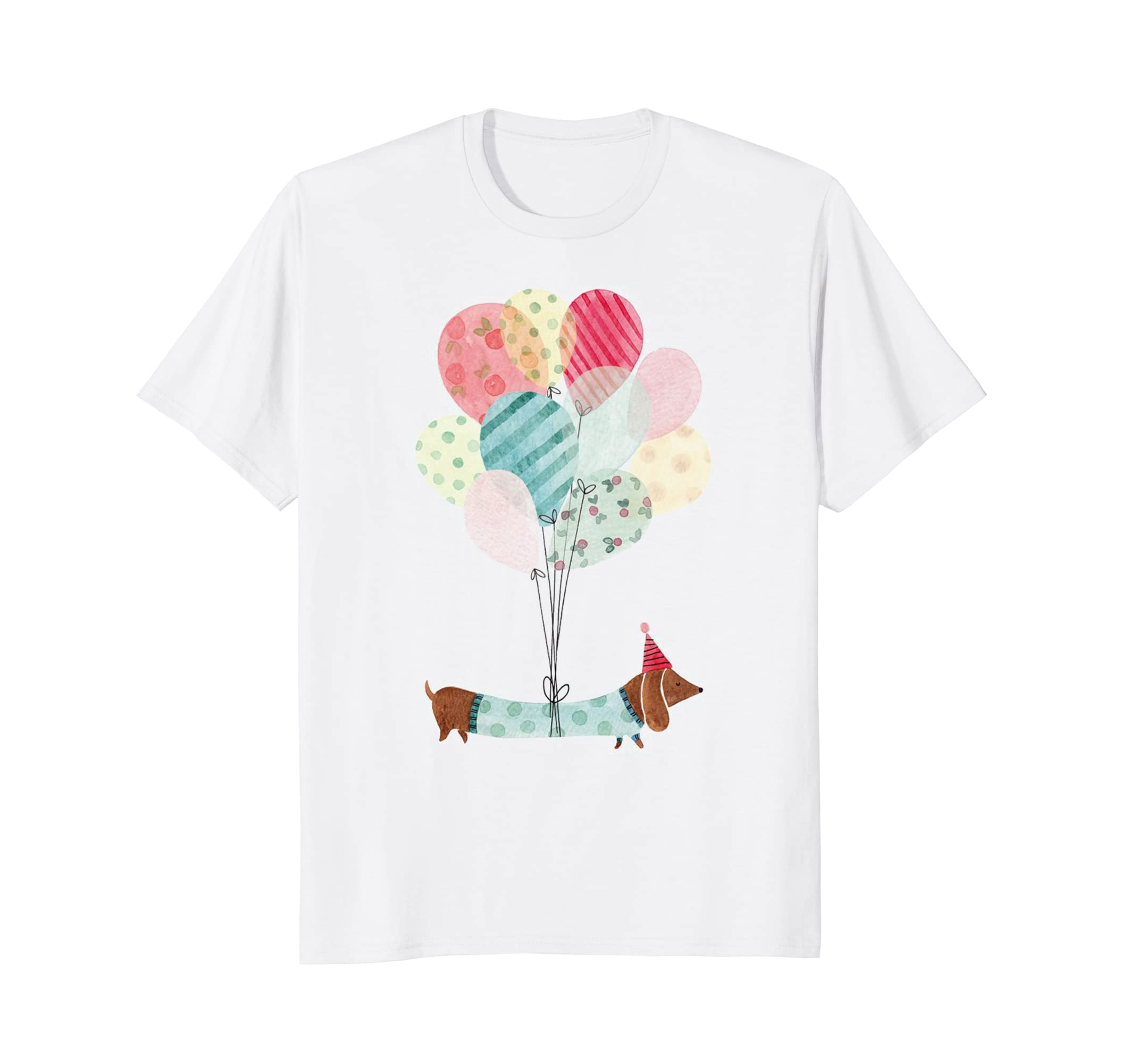 Beautiful Dachshund Dog with Colorful Balloons T-Shirt-AZP
