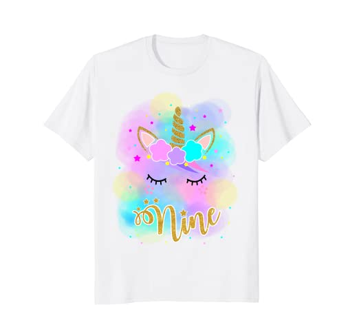 155e8f37db4e Image Unavailable. Image not available for. Color: Unicorn 9th Birthday  Girl T-Shirt Nine years old Birthday