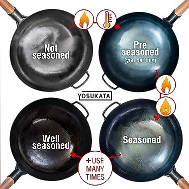"Pre-Seasoned Blue Carbon Steel Wok Pan – 14"" Woks and Stir Fry Pans - Chinese Hammered Wok Round Bottom Pow Wok - Traditi"