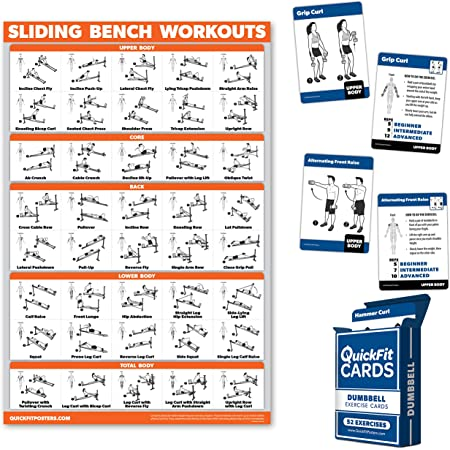 Compatible with Total Gym Weider Ultimate Body Works Incline Bench Exercise Chart QuickFit Sliding Bench Workout Poster