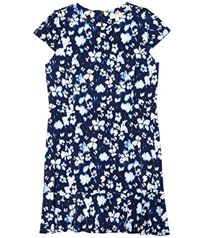 MICHAEL Michael Kors Plus Size Poppy Flounce Seamed Dress (True Navy) Women