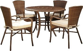 Panama Jack PJO-7001-ATQ-5PC Key Biscayne 5 Piece Dining Set with Cushions, Light Beige