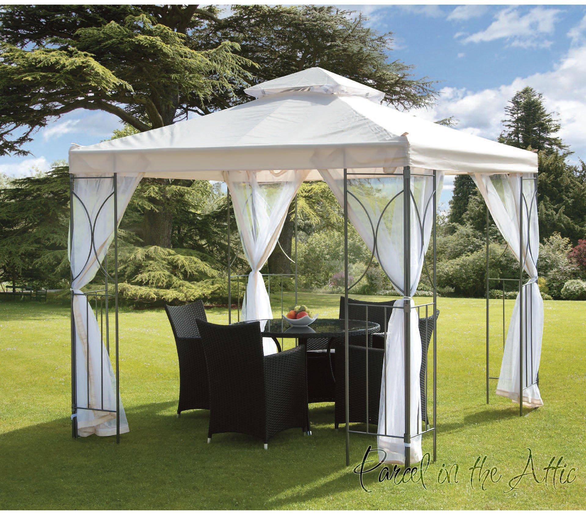 Carpa de metal contemporánea para jardín con marco de aluminio resistente al agua, Tienda con toldo y Parasol para jardín (3 x 3 m): Amazon.es: Jardín