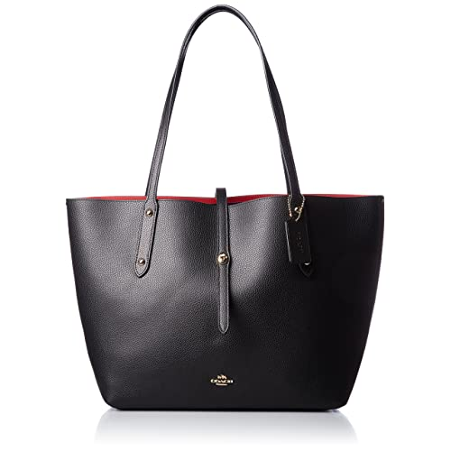 COACH Womens Polished Pebbled Leather Market Tote