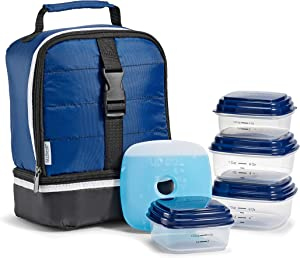 Fit & Fresh Raptor Insulated Lunch Bag with BPA-Free Food Containers, Mazarine Blue, 7.5