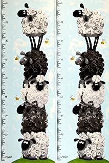 44'' Wide Susybee Lewe Growth Chart Panel Blue Fabric By The Panel