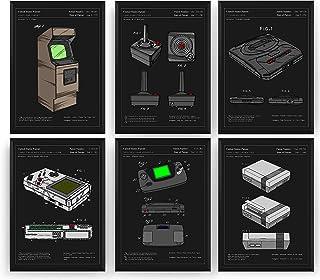 Gaming Poster de Patente - Conjunto de 6 Impresiones - Patent Print Póster Con Diseños Patentes Decoración de Hogar Invent...