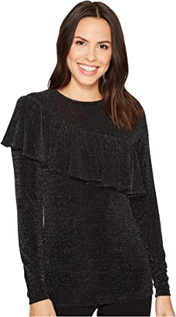 MICHAEL Michael Kors - Asymmetrical Ruffle Long Sleeve Top