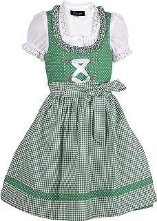 Ramona Lippert Kinder Dirndl für Mädchen - Kinderdirndl Nele in Grün - 3-teiliges Trachtenkleid - Trachtenmode - Tracht mit Schürze