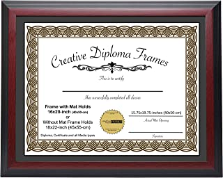 CreativePF [1620-1822mh] Large Mahogany Diploma Frame with Black Mat Holds 16x20-inch Documents with Scratch Resistant UV Acrylic and Installed Wall Hanger