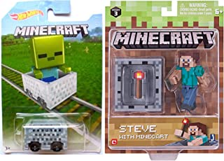 Minecart Hot Wheels Zombie Card & Steve with Torch and Minecart Pack Character Mini-Figure Collector Series 3 with Game Gear Items Set