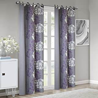 Madison Park Anaya Curtain Grommet Tops Thermal Insulated Window Panel for Living Room Bedroom and Dorm, 50x84, Purple/Grey