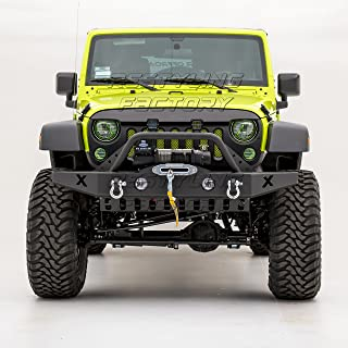 Restyling Factory -Rock Crawler Front Bumper with D-Ring and Winch Plate Ready&OE Fog Lights Hole-Textured Black for 07-17 Jeep Wrangler JK