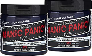 Manic Panic After Midnight Blue Hair Color Cream (2-Pack) Classic High Voltage, Semi-Permanent Hair Dye, Vivid Blue Shad For Dark, Light Hair – Vegan, PPD & Ammonia-Free, Ready-to-Use, No-Mix Coloring
