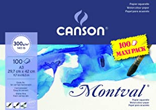 Canson Montval 300gsm Watercolour Practice Paper pad Including 100 Sheets, Size:A3, Natural White and Cold Pressed (Not)