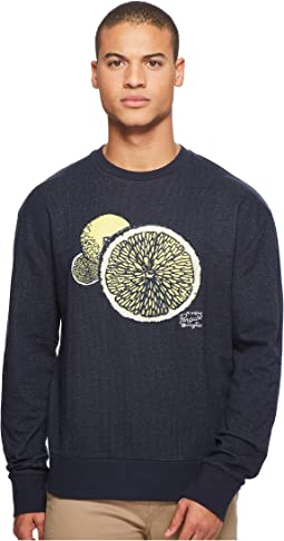 Original Penguin - Long Sleeve Drop Shoulder Lemon Graphic Crew Sweatshirt