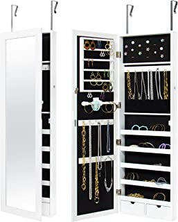 Best Choice Products Mirrored Lockable Jewelry Cabinet Armoire Organizer with Door Hanging Hooks and Wall Mount, White