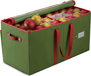 Large Christmas Ornament Storage Box with Dual Zipper Closure - Box Contributes Slots for 128 Holiday Ornaments 3-Inch, Xmas Decorations Accessories, Made of Non Woven Tear Proof Material