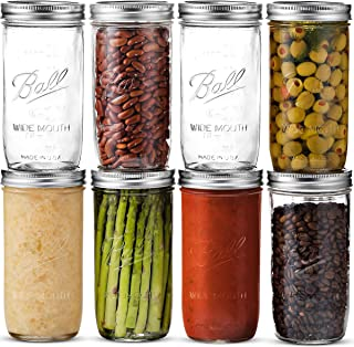 Ball Wide Mouth Mason Jars 24 oz [8 Pack] With Airtight lids and Bands - For Canning, Fermenting, Pickling, Freezing - Glass Jars, Microwave & Dishwasher Safe. + SEWANTA Jar Opener
