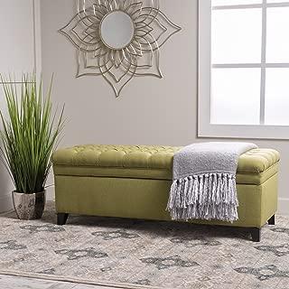 GDF Studio Laguna Living Room Furniture~ Tufted Fabric Storage Ottoman (Green)