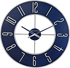 "Bulova Steel Oversize Wall Clock, 27"", Silver and Blue"