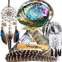 Spiritual Healing 10 Gifts Smudging Kit - Dream Catcher Home Blessing Sage Kit, Large Abalone Smudge Kit, White & Blue Sage Smudge Stick, Incense Burning Kit, Feather, Cleansing Ritual Gift Set