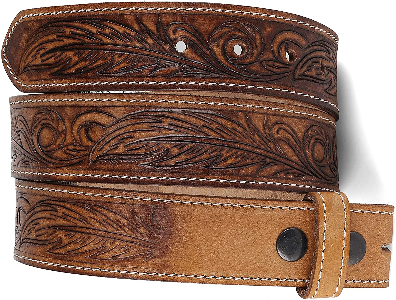 Belt for buckle Western Leather Engraved Tooled Strap w/Snaps for Interchangeable Buckles, USA…