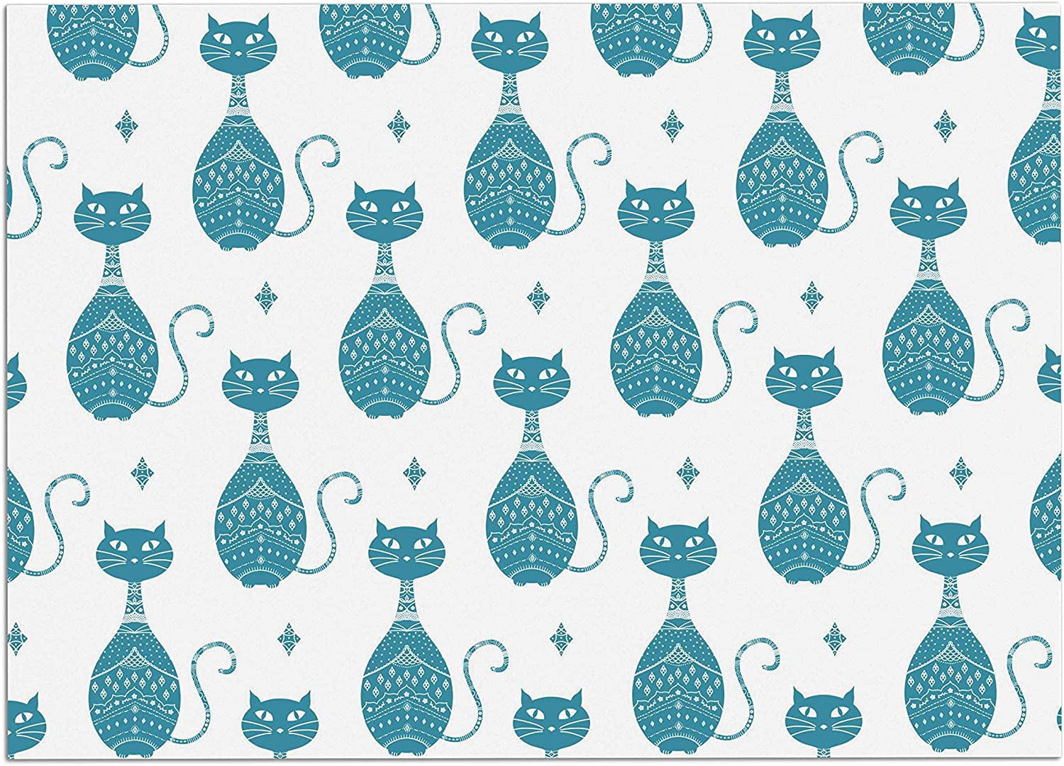 KESS InHouse CB2019ADM02 Cristina Bianco Design bluee Cat Pattern White Animal Dog Place Mat, 24 x15