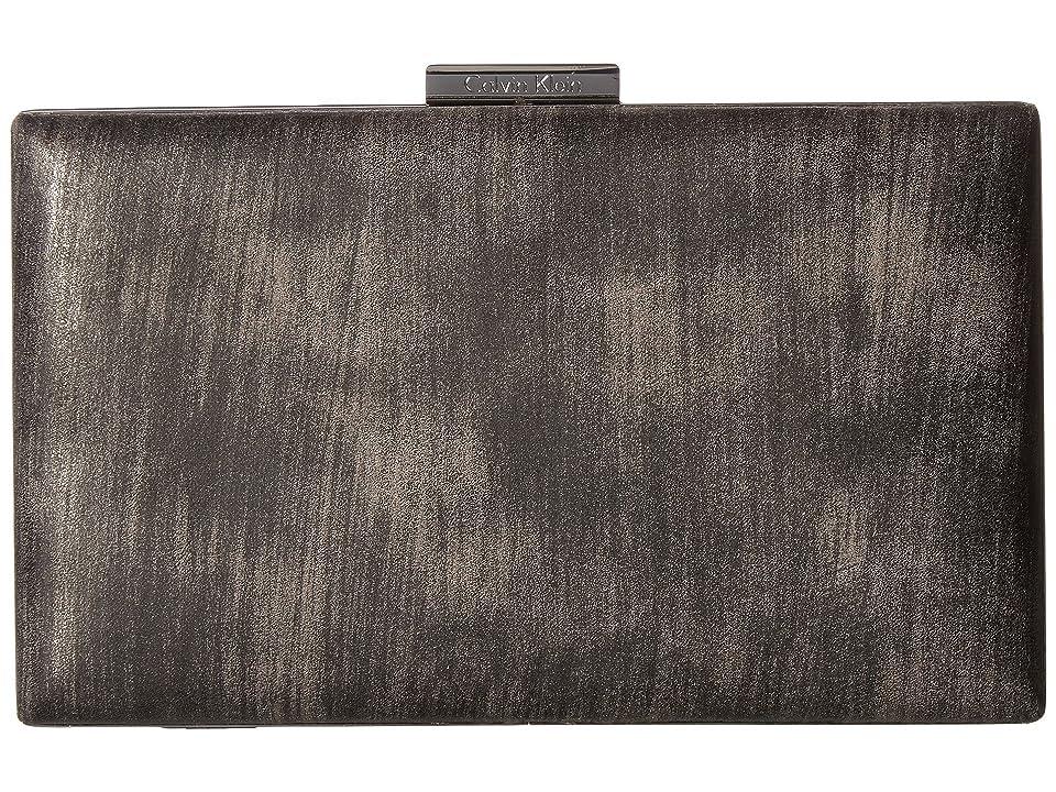 Calvin Klein Brushed Metallic Evening Bag (Gunmetal) Clutch Handbags, Gray