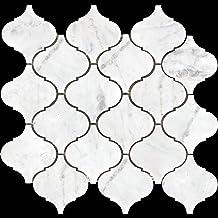 "Simple Tile - Carrara White Marble Mosaic Tile for Kitchen Backsplash, Bath Bathroom Floor, Etc, MM 9201B - 3""X3"" Arabesqu..."