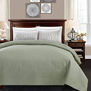 ALPHA HOME Quilted Bed Quilt Bedspread Coverlet Bed Cover Light Weight Luxury Checkered Pattern - Sage, Twin