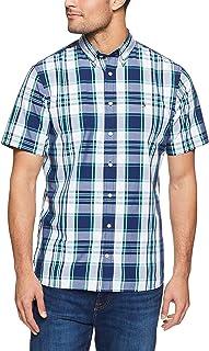 TOMMY HILFIGER Men's Oversized Tartan Print Short Sleeve Shirt, Bw/Medieval Blue/Rain Forest