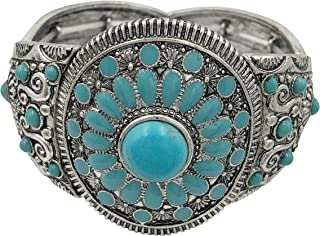 Gypsy Jewels Designer Inspired Wide Silver Tone Stretch Bracelet