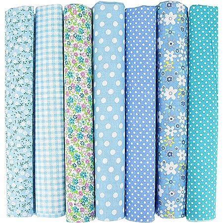 INFEI – Lot de 7 carrés de tissu en coton 50 x 50 cm pour loisirs créatifs, patchwork, couture, scrapbooking(bleu)