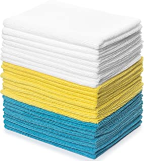 Zeppoli Reusable Microfiber Cleaning Cloth Set - 12 x 16 Inches Microfiber Cloth - 24 Pack Washcloth, Auto Detailing Supplies – Cleaning Rags, Works Great with Windex