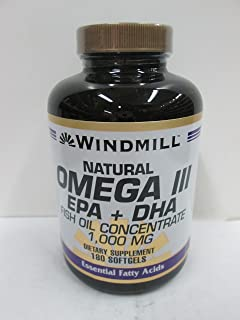 Windmill Omega 3 180 Softgels EPA and DHA Fish Oil Concentrate 1,000 Milligrams Windmill Vitamins Dietary Supplement Weigh...